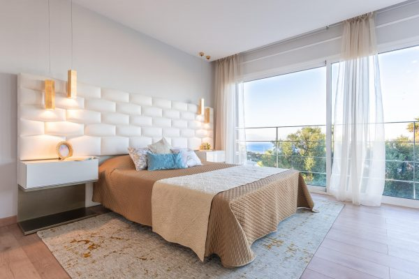 interior design project of modern villa in Marbella, Costa del Sol. Bedroom