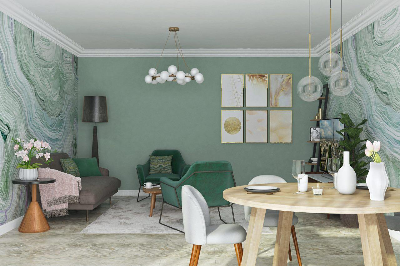 3D render. contemporary style interior design project: futniture package for apartment in Marbella, Costa del Sol