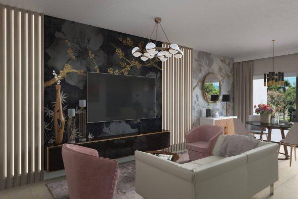 3D render contemporary design apartments Marbella